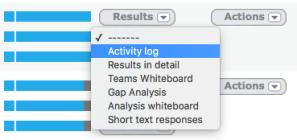 Alog results menu